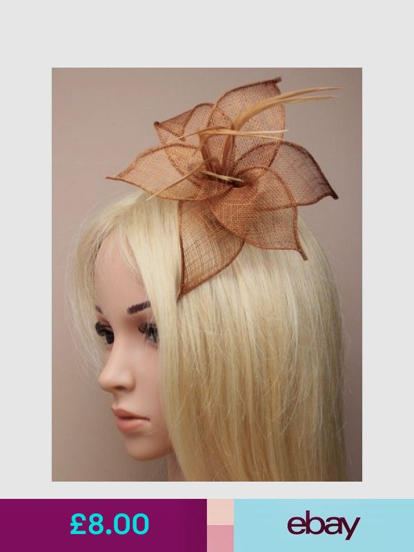 Mocha Brown Latte  Hair Flower Feather Fascinator Hair Clip Hair Slide