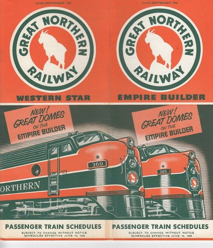 1956 Great Northern Railway Passenger Time Table Train Schedules System Map Fare