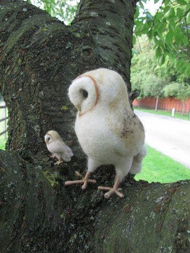 Needle-felted barn owls, by HandmadeByNovember on Etsy, 65.00