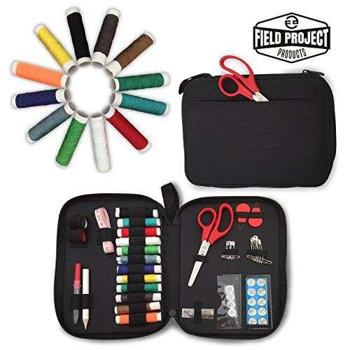 BEGINNERS SEWING KIT PocketSewing More than 50 Premium Quality Sewing Accessories Includes Spools of Thread, Scissors and Easy to Thread Needles, Measuring Tape