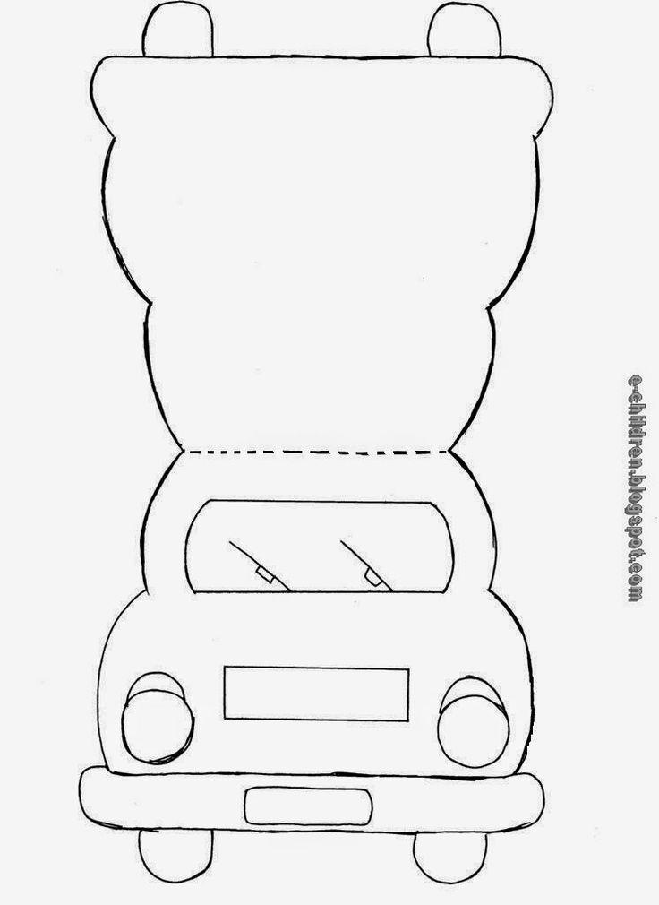 Κάρτα Αυτοκίνητο Στη θέση που βρίσκεται το παρμπρίζ μπορούμε να σχεδιάσουμε τη φιγούρα του πατέρα και του συνοδηγού