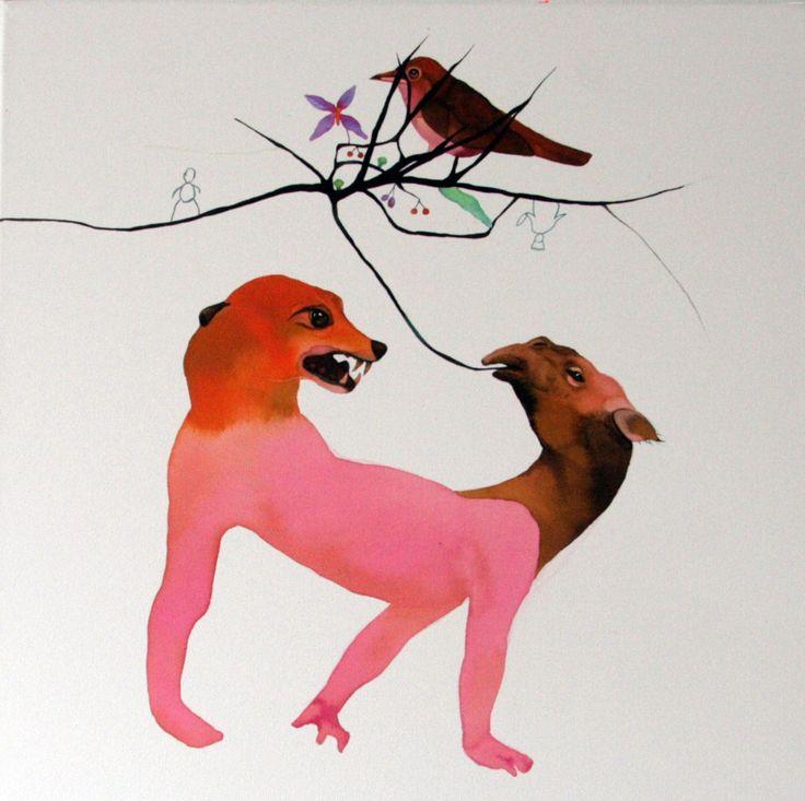 Basia Bańda, Pięknie śpiewasz, 2014, ekolina na płótnie, 50 x 50 cm