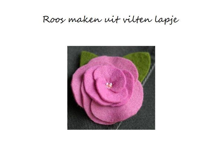 Roos maken van lapje vilt, bijvoorbeeld een rooscorsageis niet moeilijk. Met de onderstaande werkbeschrijving en de stap voor stap