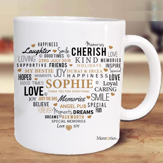 A unique gift idea for a tea or coffee lover, our personalised mugs can be printed with a name, message or photograph. Shop now at www.memoriesbymel.co.uk #personalisedmugs #uniquemugs #custommugs #photomugs #mugs