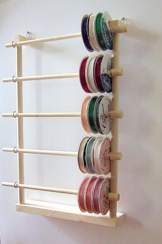 Hanging Ribbon Holder Storage Rack Scrapbook Organizer Holds 80 Spools