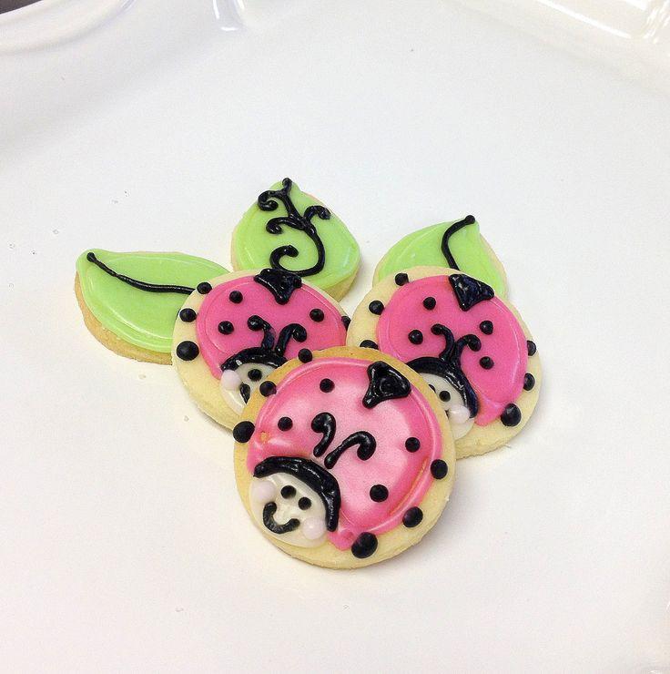 Pink Lady Bug Cookies Mini Sugar Cookies by SugarMeDesserterie, $18.95