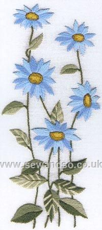 Buy Blue Daisies Embroidery Kit Online at www.sewandso.co.uk