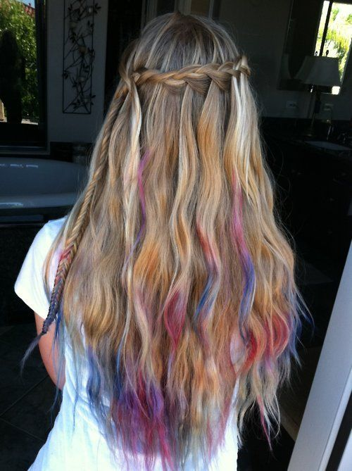 realy colourfull braidHairstyles, Waterfal Braids, Dips Dyes, Ties Dyes, Dyes Hair, Hair Style, Waterfall Braids, Hair Chalk, Colors Hair