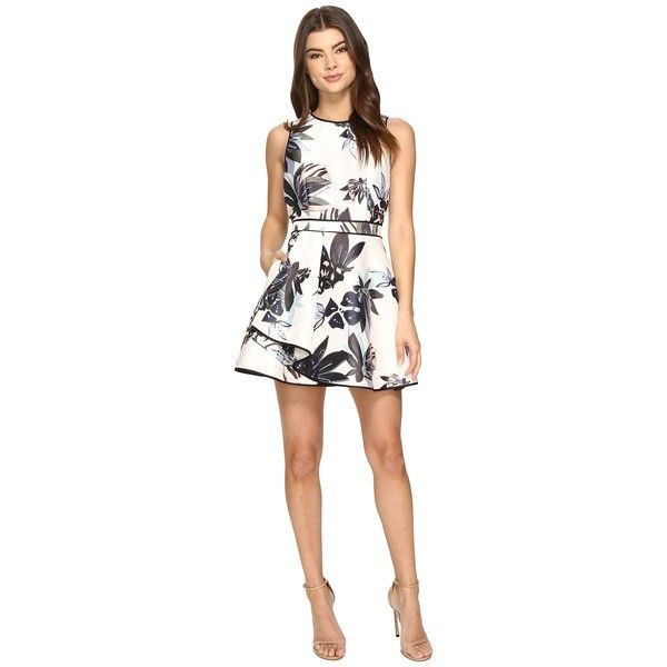 KEEPSAKE THE LABEL Coming Home Mini Dress (Abstract Floral Print)... ($151) ❤ liked on Polyvore featuring dresses, white fit and flare dress, floral fit and flare dress, white mini dress, white dress and white fit-and-flare dresses