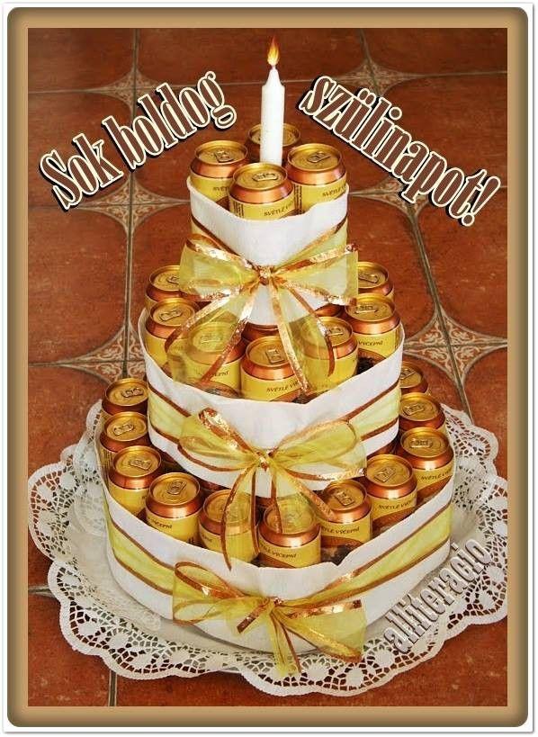 születésnap, pasiknak, férfiaknak, képeslap, sör, torta ...