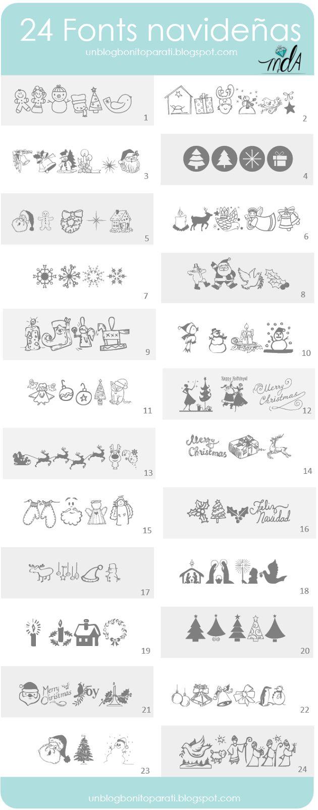 Tipos de letras navideñas para hacer cartelitos y etiquetas - Mi diamante azul