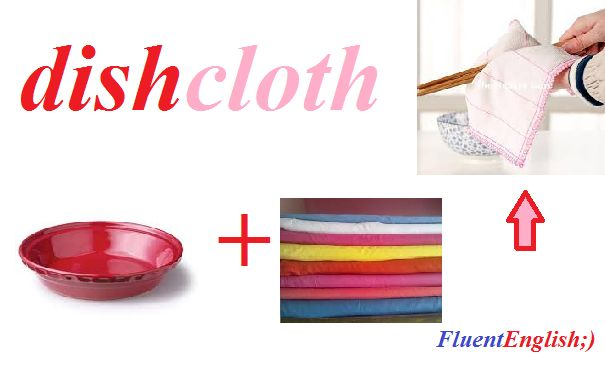 dish + cloth = dishcloth (кухонное полотенце, тряпка для мытья посуды)