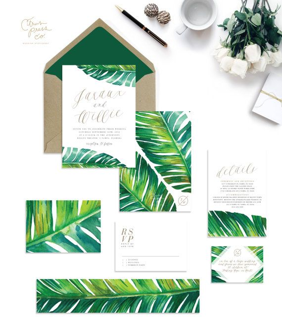 JARAUX SUITE // Tropical Wedding Invitation, Banana Leaf, Tropical Invitation…