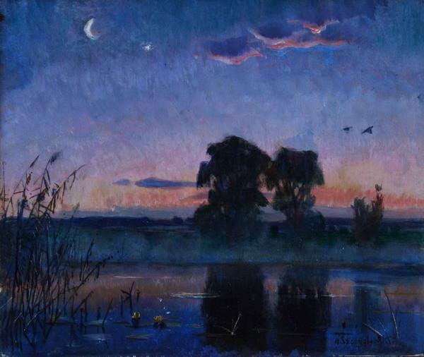 Henryk Szczygliński, Przed wschodem słońca, (fragment tryptyku), 1910-1920