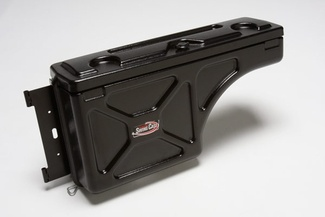 The Undercover Swing Case tool box fits in the fender well of your Silverado 1500, under the bed rail! This is a great tool box for your truck if you have a tonneau cover.