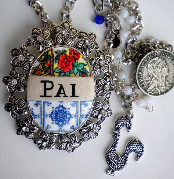 Portugal Antique Azulejo Tile Replica Necklace PAI  by Atrio,