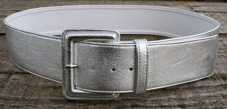 Woman silver belt napa leather with covered buckle -  Cintura donna nappa argentata fibbia ricoperta - CUCCOLI ACCESSORI MODA
