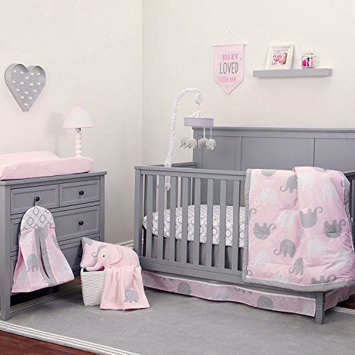 NoJo The Dreamer Collection Elephant Pink and Grey 9 Piece Crib Bedding Set
