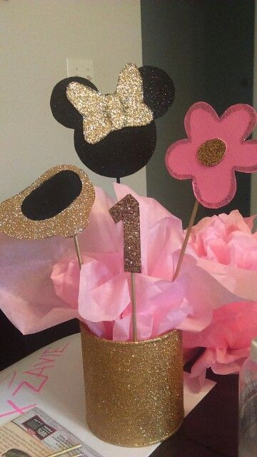 Minnie mouse gold pink black centerpiece all cardstock