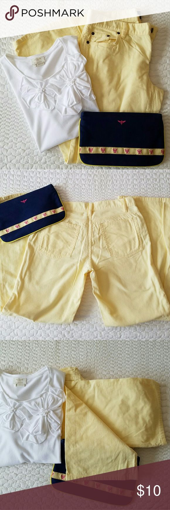 """J. Crew Spring cords Soft yellow cords perfect for spring & a cool summer night. 100% cotton, city fit (not skinny, see last pic). 29 1/2"""" inseam. Clutch available in another listing, makes a great bundle! Save 15%! J. Crew Pants Boot Cut & Flare"""