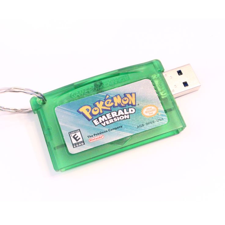 This listing is for a custom USB Flash Drive made from a Pokemon Emerald Game Boy Advance cartridge. It comes with or without an attached keyring. Please specify at the checkout if you would like a keyring. Default is no keyring. There are several game versions available: Pokemon Emerald ...