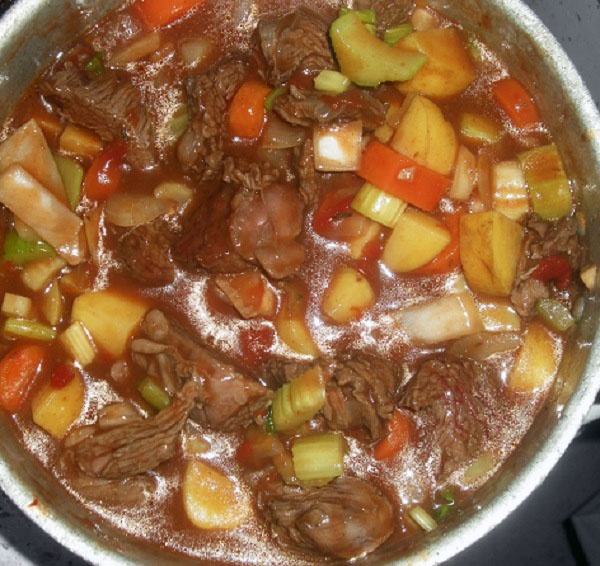 Italian beef stew (South African red wine, beef, tomatoes, vegetables ...