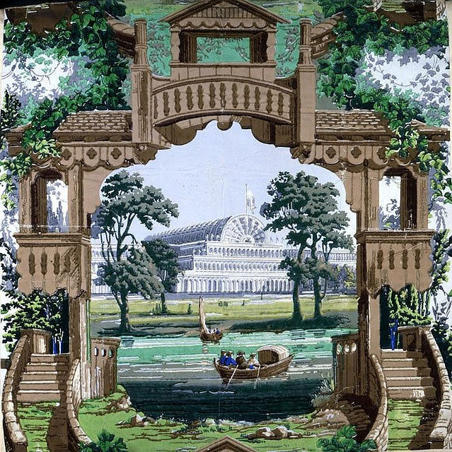 Crystal Palace, London Description: Design for Great Exhibition wallpaper. The 1851 Exhibition held in London's Hyde Park inside the purpose built Crystal Palace received millions of visitors.