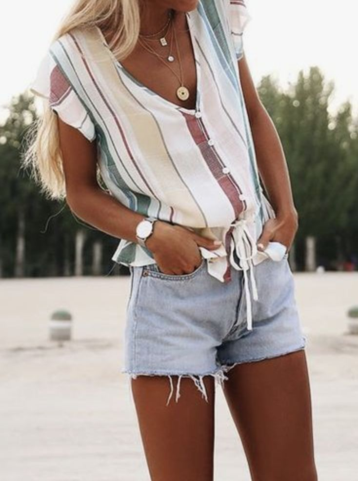 Absolutely love this shirt — colors, vertical stripe print, shape, v-neck with buttons