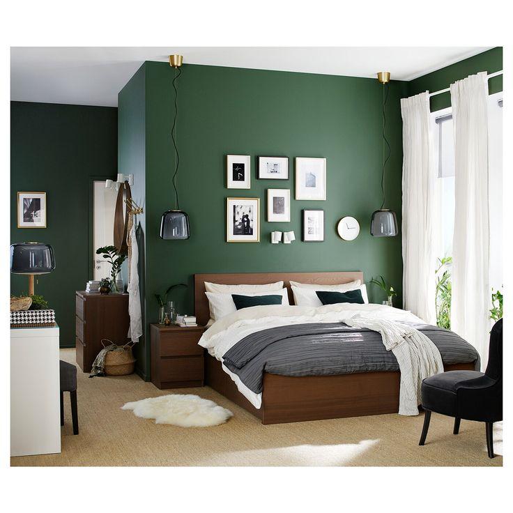 IKEA - MALM Høj sengsramme / 4 opbevaringsbokse brunbejdset finér,