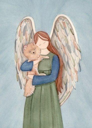 Pomeranian with angel / Lynch signed folk art print.     http://www.etsy.com/shop/watercolorqueen