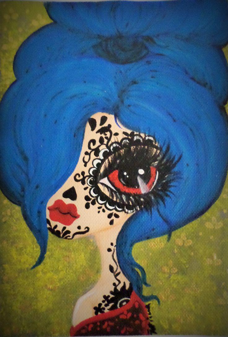Blue Lady, big eyes, red eyes...tattoo
