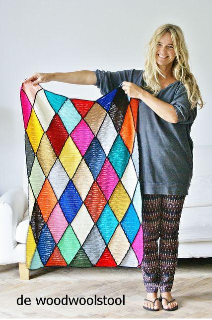 Patrones para Crochet: Cubre Sillones de Rombos de Crochet
