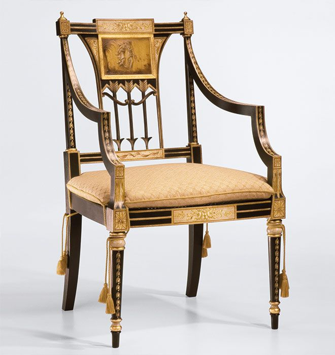 luxury hand crafted Ityalian furniture | chairs | hand-painted Sheraton style armchair with antiqued black and gold finish