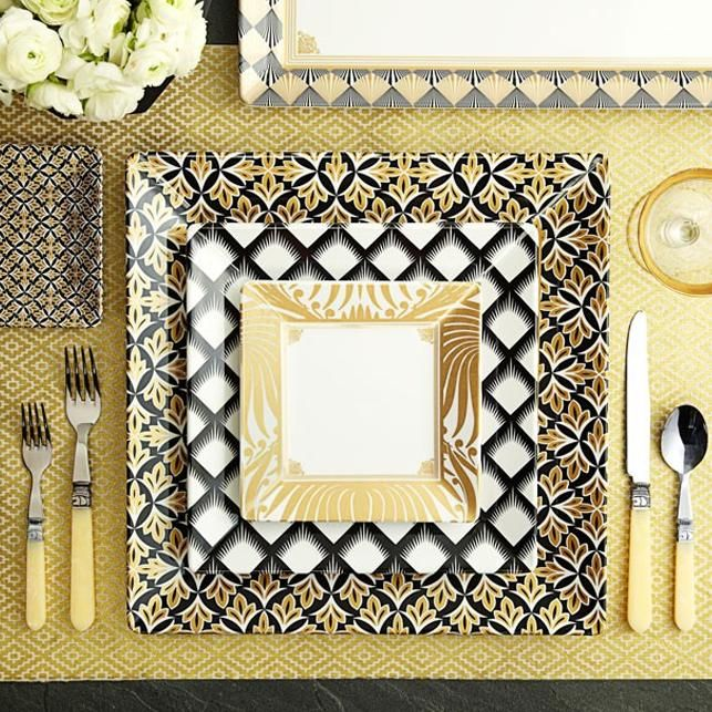 Overhead view of art deco style table setting.