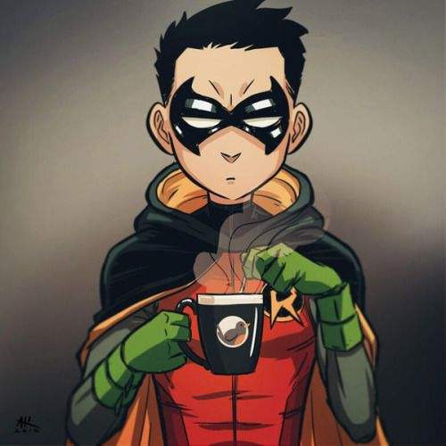 Damian Drinking Coffee - Andrew Kwan (I don't know why I find this adorable)