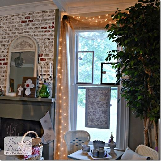 Clever, cute and inexpensive DIY window treatment (also nice touch for holidays or dinner party) via PlumDoodles.com