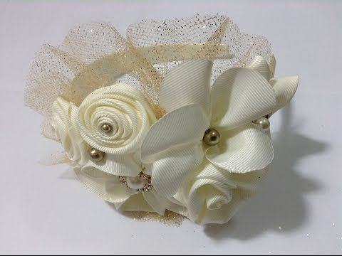 Tocado de flores en diadema VIDEO No. 329 - YouTube