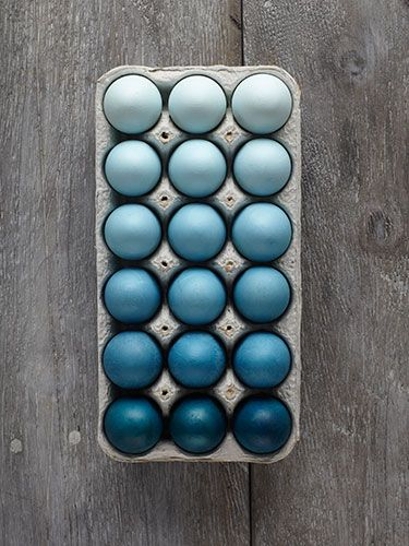 Blue ombré easter eggs