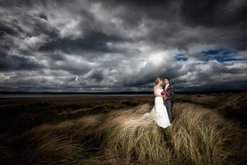 bride and groom at Murvagh beach Co. Donegal, Ireland