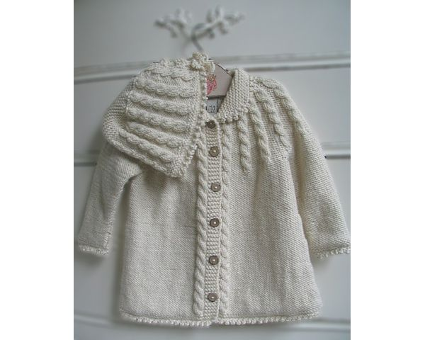 Vintage knit matinee jacket and bonnet. How adorable! Maybe I should join the knitting group!!
