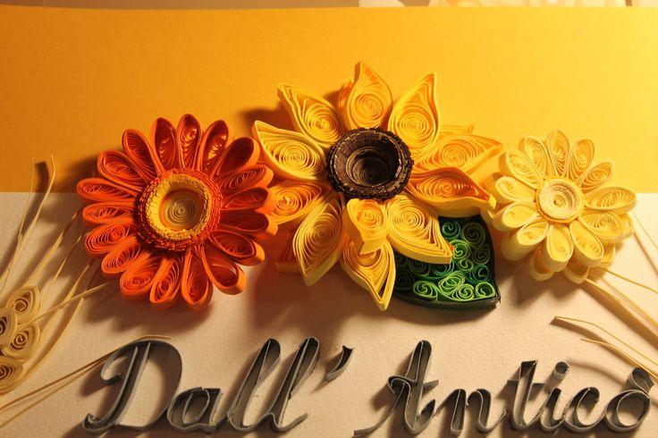 dettagli -quilling sunflower quilled gerbera