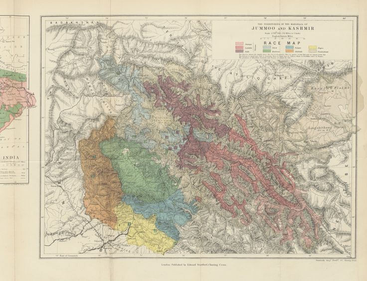 The Northern Barrier of India : Jammu and Kashmir Race Map 1877