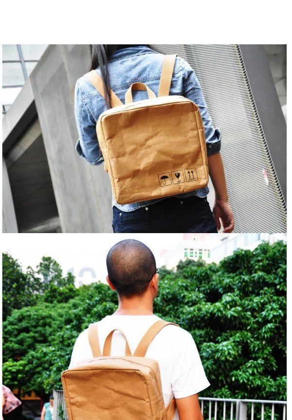 【图】【负波普】原创设计 水洗牛皮纸 创意 超轻休闲简单环保双肩包-淘宝网@娜娜_qq138分享自@玉米片的杂志#WOW~# - 美丽说