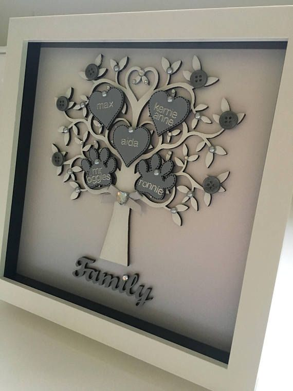 Personalised Family Tree Frame A Lovely Handmade Family Gift Family Tree Frame Personalised Family Tree Personalized Family