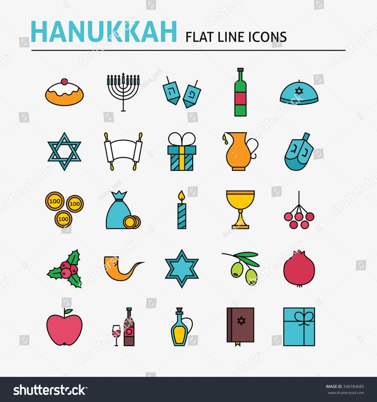 Jewish Hanukkah Colorful Flat Line Icons Set. Vector Collection of Winter Holiday Modern Thin Outline Icons for Web and Mobile. Israel Traditional Icons.