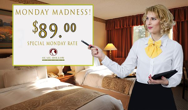 $89.00 special rate, every Monday!*  King or double guestroom.  Enter our weekly drawing upon check-in for complimentary overnight stays, breakfast or dinner at CK's Lounge, and rounds of golf.  *Holidays not included BOOK TODAY! (440) 497-1100 www.quailhollowresort.com  #quailhollow #specialrate #ohiohotel #businesstravel #mondaymadness #89dollars (scheduled via http://www.tailwindapp.com?utm_source=pinterest&utm_medium=twpin)