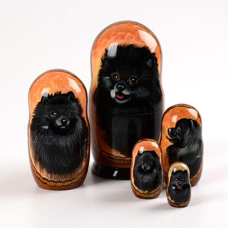 Black Pomeranian nesting dolls. So cute. I love my black Pomeranian.