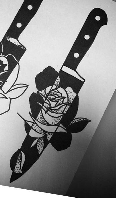 My first tattoo #tattoo #knife #rose #tatuagem #old #school