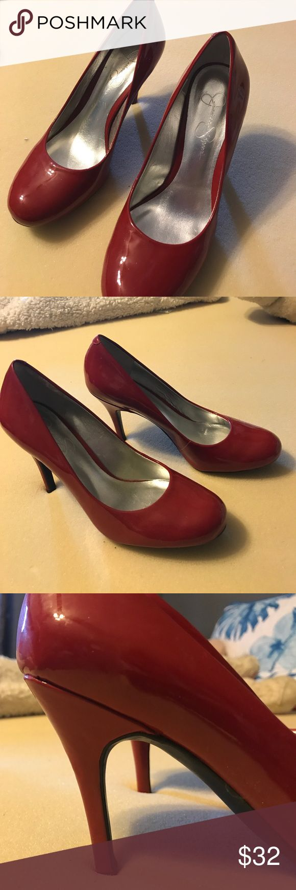 Jessica Simpson Red Classy Heal Like new. Only worn once! Jessica Simpson Shoes Heels