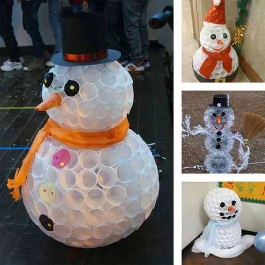 Más ideas para decorar reciclando esta Navidad en ►http://trucosyastucias.com/decorar-reciclando/manualidades-adornos-navidad  #manualidades #crafts #diy #upcycle #snowman muñeco de nieve